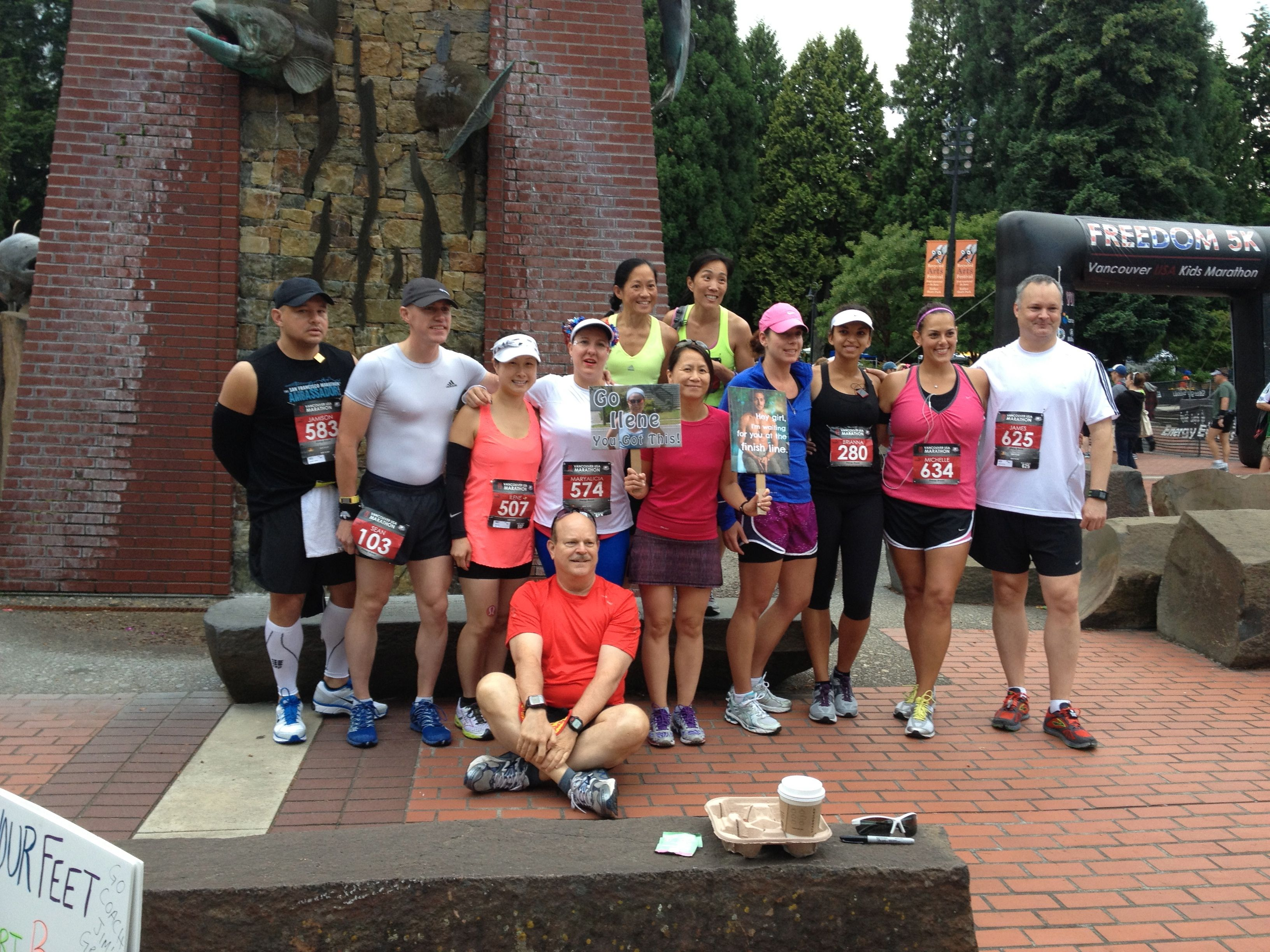 Coach Jim's Elite Runners in Training at the 2013 Vancouver, USA marathon.