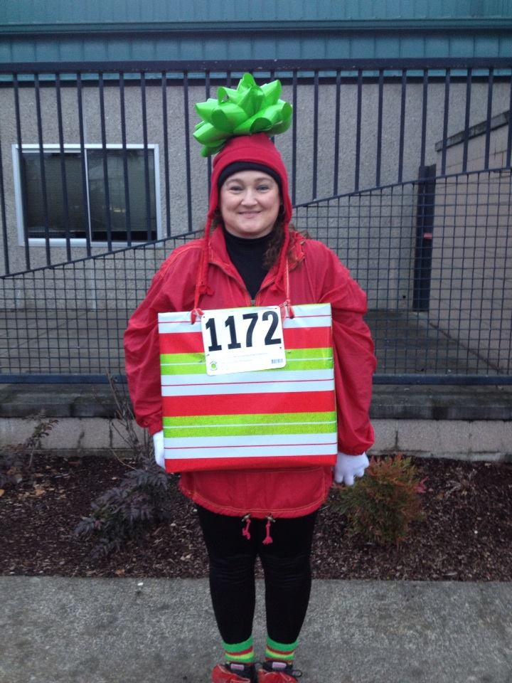 "Grande Ronde runner Susan Anguiano graced us with her ""presents"" at the Keizer Jingle Dash. - Photo by Matt Rasmussen"