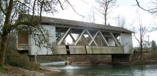 Covered bridge in the last mile of the Roaring Run at Roaring River Half!
