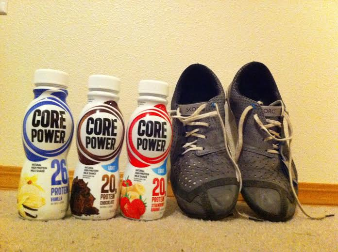 Core Power shakes and Skora shoes