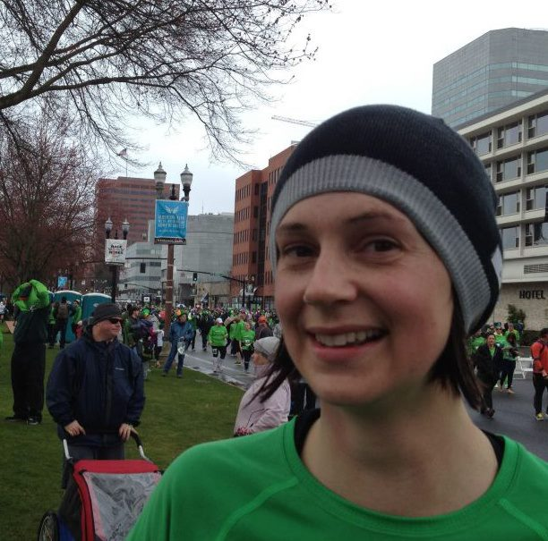 Amy at the finish line after her first road race in years.  Of course it was a Portland Institution, the Shamrock Run.  Photo Credit: Amy Little