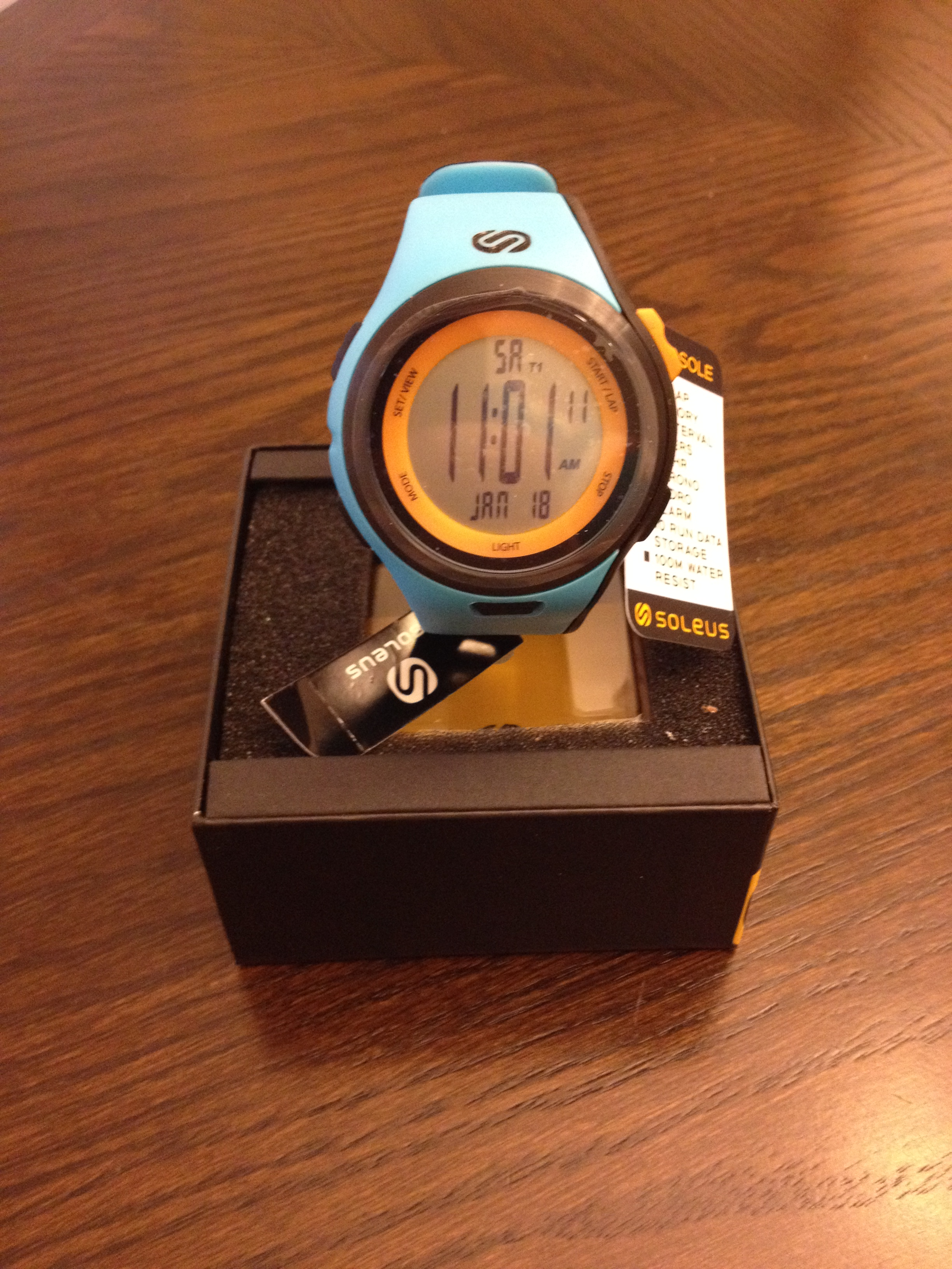 The Soleus Ultra Sole running watch in Bright Blue/Orange - Photo by Matt Rasmussen