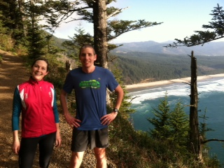 Eric Barten and Marin Ramey pause to enjoy the view from the trail on which the Race to the Cape runs. Photo credit: Marianne Jones