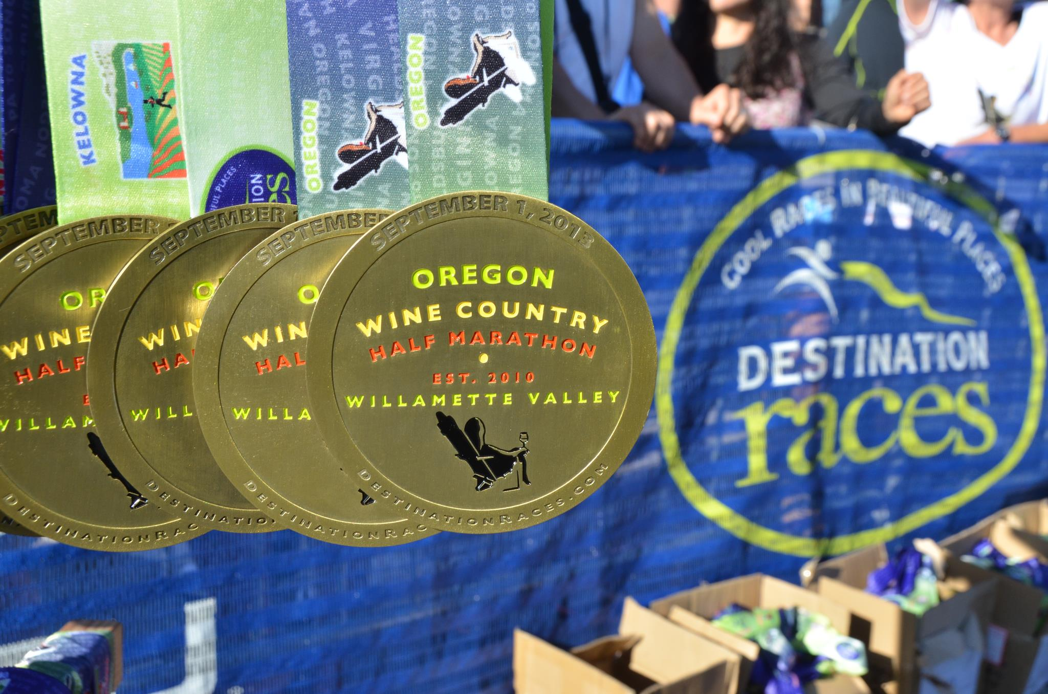 The medal from the 2013 Oregon Wine Country Half Marathon: beautiful, classy, and substantial. © 2013 Destination Races | All Rights Reserved
