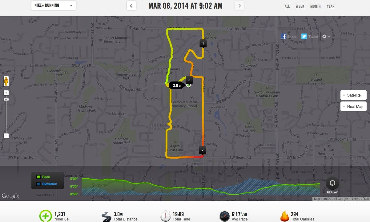 The course map and elevation profile for the 2014 Run with the Eagle 5k in Beaverton.