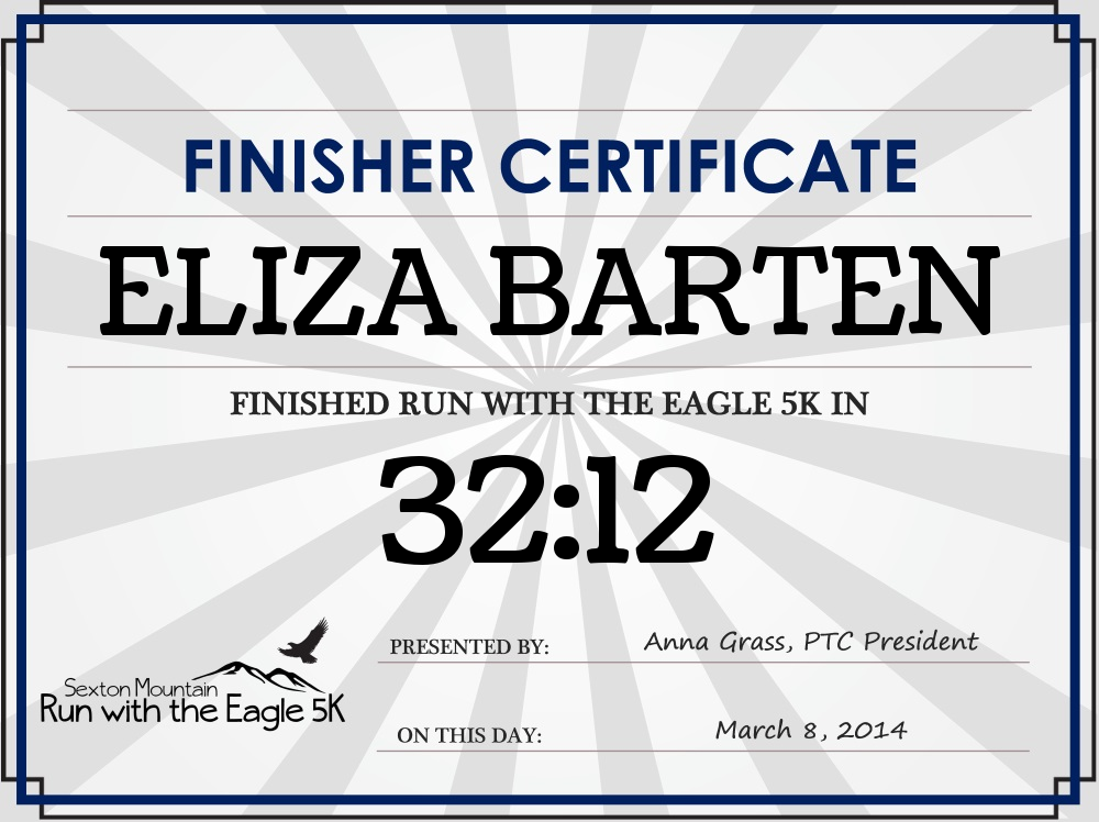 """My daughter won the """"Female 3 and under"""" division ... and beat me by 1 second at the Run with the Eagle 5k! Courtesy Jeff Huber of Huber Timing"""