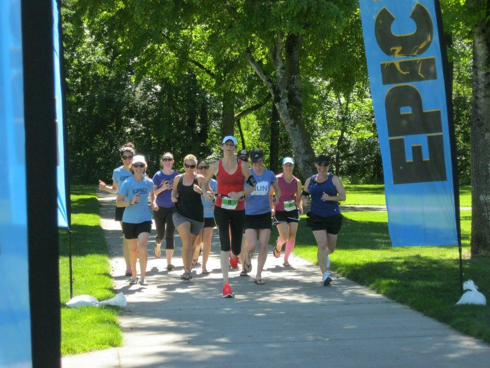 Amy anchored the Epic Relay team.  All team members and friends ran her in. Photo credit: Chris Pelto