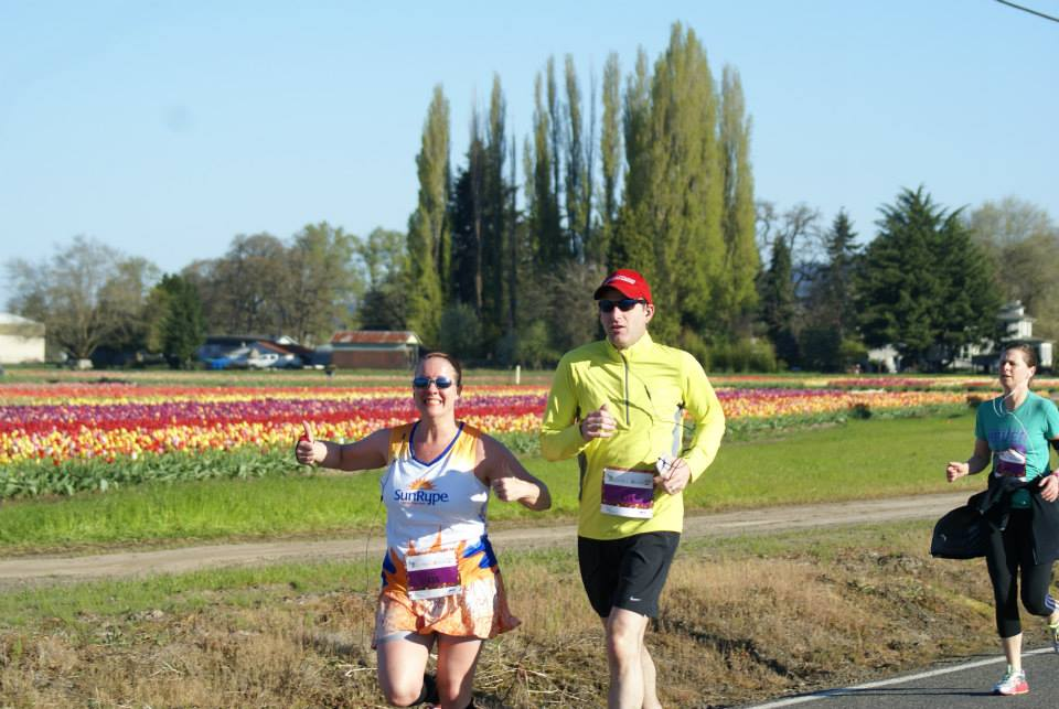 Maryalicia and her hubby Brian running the Blooms to RBews 10K