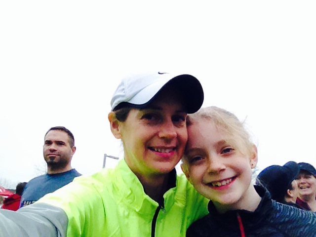 Amy and her daughter Kaylee, getting ready for the race.