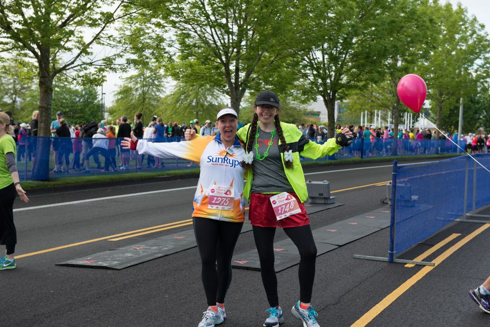 Maryalicia and Robin get ready for the Hippie Chick Half Marathon