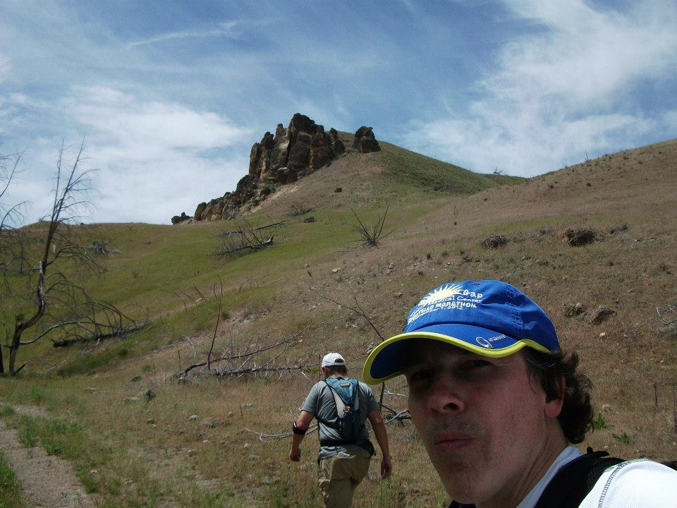 Joe and teammate Brian Hansen thinking and running at the 2014 Big Muddy orienteering meet in central Oregon