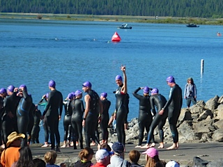 That's me waving to my husband before my first olympic triathlon sprint at Pacific Crest.  Photo credit:  Mark Little